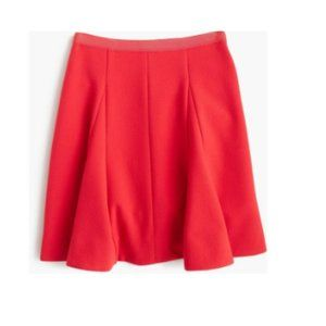 J Crew Crinkle Crepe Flared Coral Skirt